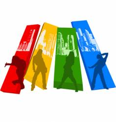 rainbow color hip hop silhouette vector image vector image