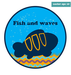 simple emblem with clown fish vector image vector image