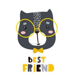 cute cartoon cat face print childish print for vector image