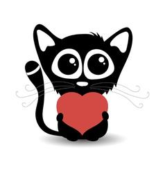 Cute cartoon cat with heart vector image
