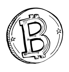 doodle coin bitcoin drawn with a black vector image