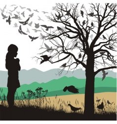 girl and birds vector image vector image