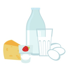 Milk products and eggs vector image vector image
