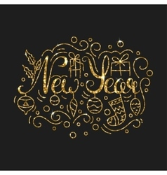 New Year Golden Lettering Design Typographic vector image vector image