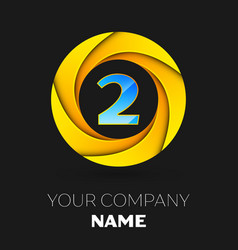 Number two logo symbol in colorful circle vector