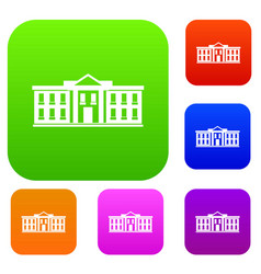 white house usa set collection vector image vector image