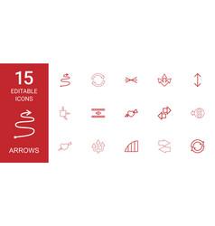 15 arrows icons vector