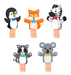 A cute collections of puppets wild animal vector