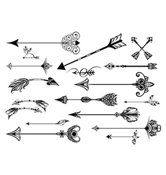 A set of cute hipster arrows vector image