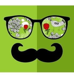 Abstract face of man in glasses vector