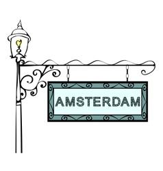 Amsterdam retro vintage pointer lamppost vector