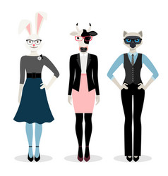 animals businesswoman icons vector image