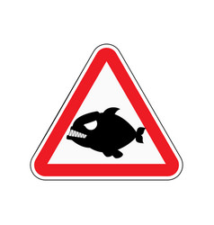 Attention piranha dangers of red road sign vector