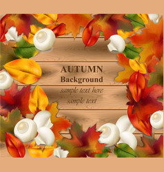 autumn leaves on wood background realistic vector image