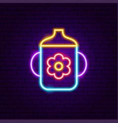 baby cup neon sign vector image