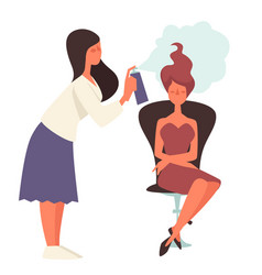 Beauty salon hairdresser spraying hairstyle of vector