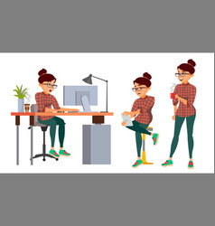Business woman character working female vector