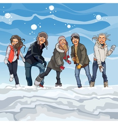 cartoon guys and girls playing snowballs in winter vector image