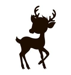 Cartoon reindeer silhouette vector image