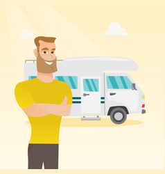 Caucasian man standing in front of motorhome vector