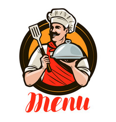 chef holding a tray cloche design menu for a vector image