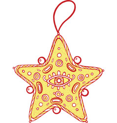 christmas decoration for christmas tree - golden vector image