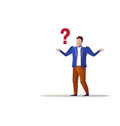 Confused businessman question mark concept trouble vector