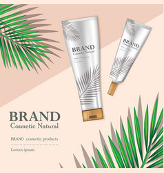 Cosmetic product and skin care ads with tropical vector