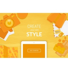 Creative background in orange style vector image