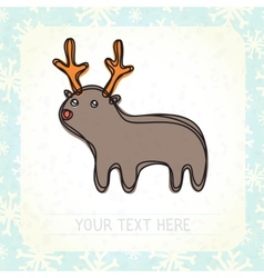 Cute deer and snowflakes vector