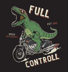 dinosaur on motorcycle vector image