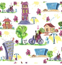 Doodle city colored seamless pattern vector image