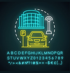 Driverless parking valet neon light concept icon vector