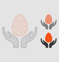 Egg incubator hands mesh wire frame model vector
