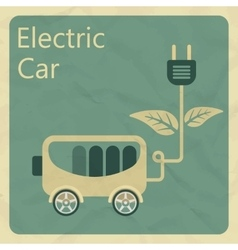 Electric car Flat retro style concept vector image