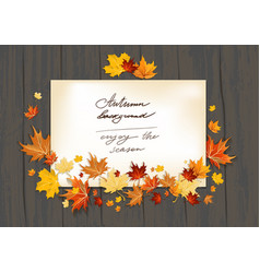 Fall leaves on wood background vector