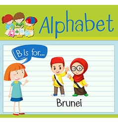 Flashcard alphabet B is for Brunei vector image