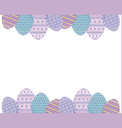 Frame with decorated eggs of easter vector