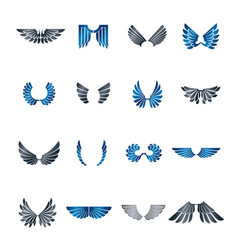 freedom wings emblems set heraldic coat of arms vector image