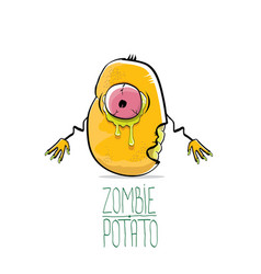 Funny cartoon cute orange zombie potato vector