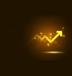 Futuristic gold raise arrow chart digital vector
