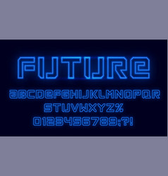 Futuristic neon font blue alphabet with numbers vector
