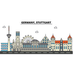 Germany stuttgart city skyline architecture vector