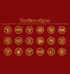 Gold zodiac icons set of vector