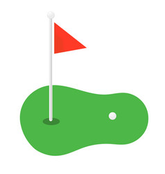 golf cartoon icon symbols golf flagstick vector image