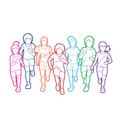 group children running together cartoon vector image