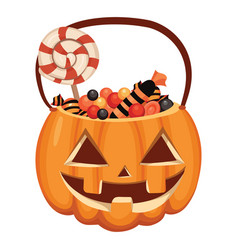 halloween pumpkin bucket filled with sweets vector image