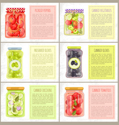 Healthy eating organic fruit and veggie preserves vector
