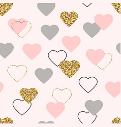 heart glitter seamless pattern valentines day vector image