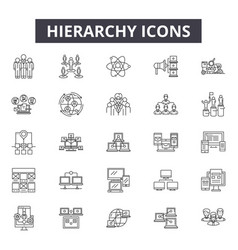 Hierarchy line icons signs set outline vector